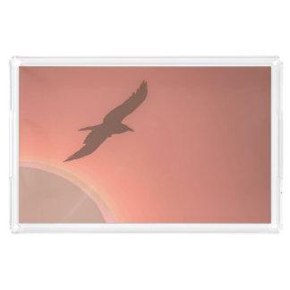 Peaceful Flying Bird Peach Pink Sun Photograph Acrylic Tray