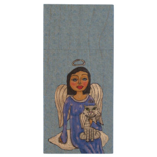 Peaceful Folk Art Angel White Cat Angel Sky Wood USB 2.0 Flash Drive