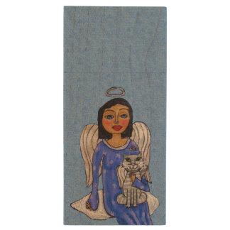 Peaceful Folk Art Angel White Cat Angel Sky Wood USB Flash Drive