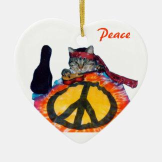 Peaceful Guitar Cat Ornament