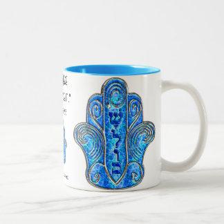 Peaceful Hamsa (Mug) Two-Tone Coffee Mug