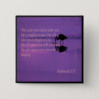 peaceful heron with Zephaniah 3:17 pin
