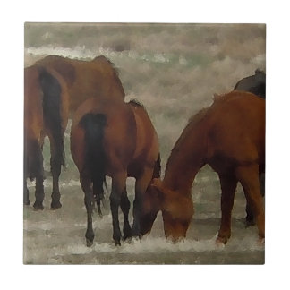 Peaceful Horse Herd Grazing Together Western Tile