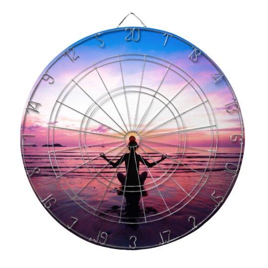 peaceful lady at sunset dart board