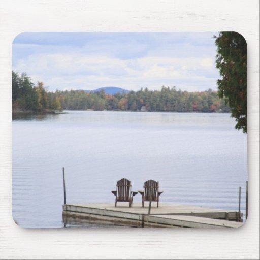 peaceful lake getaway mouse pads