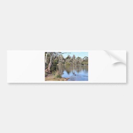 Peaceful lake scene bumper stickers