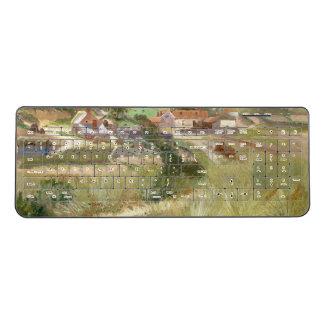 Peaceful Meadow Path Houses Wireless Keyboard