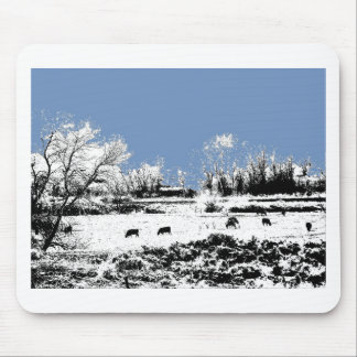 Peaceful Meadow with Cows and Blue Sky Mouse Pad