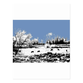 Peaceful Meadow with Cows and Blue Sky Postcard