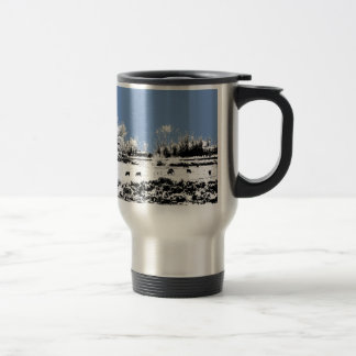 Peaceful Meadow with Cows and Blue Sky Stainless Steel Travel Mug