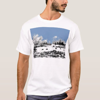 Peaceful Meadow with Cows and Blue Sky T-Shirt