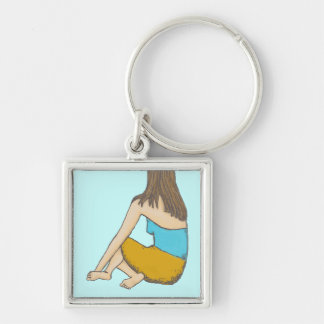 Peaceful Moment, Seated Female Figure Silver-Colored Square Keychain