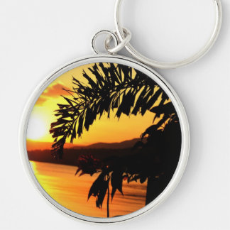 Peaceful Morning Sun Silver-Colored Round Keychain