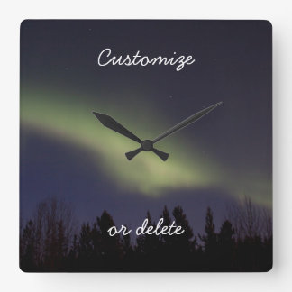 Peaceful Northern Lights; Customizable Square Wall Clock
