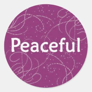 Peaceful on a Pink Pattern Round Sticker