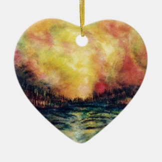 Peaceful Path Ceramic Heart Ornament