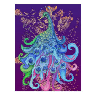 Peaceful Peacock Holiday Greeting Cards Postcard