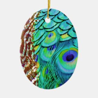 Peaceful Peafowl Flow Ceramic Ornament