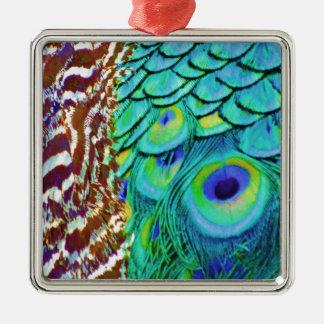 Peaceful Peafowl Flow Metal Ornament