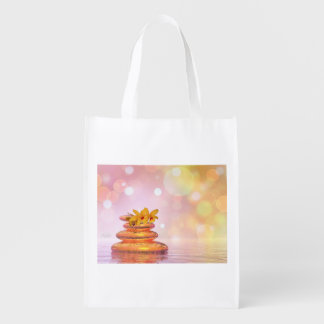 Peaceful pebbles - 3D render Reusable Grocery Bag