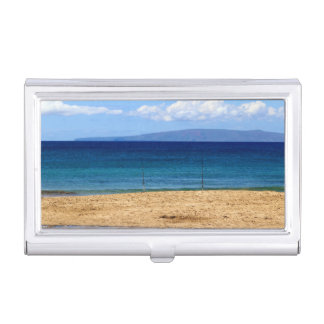 Peaceful picture of fishing rods on a beach, Maui Business Card Holder