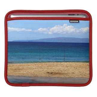 Peaceful picture of fishing rods on a beach, Maui iPad Sleeve