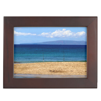 Peaceful picture of fishing rods on a beach, Maui Keepsake Box