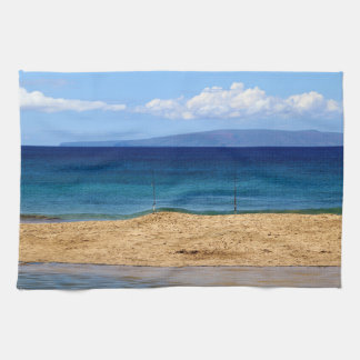 Peaceful picture of fishing rods on a beach, Maui Kitchen Towel