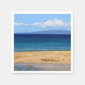 Peaceful picture of fishing rods on a beach, Maui Paper Napkin
