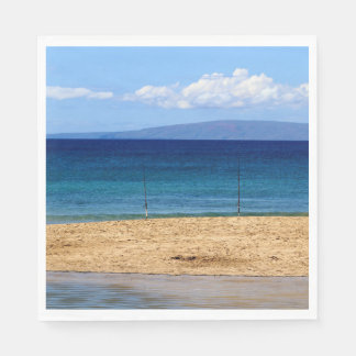 Peaceful picture of fishing rods on a beach, Maui Paper Napkins