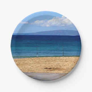 Peaceful picture of fishing rods on a beach, Maui Paper Plate