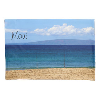 Peaceful picture of fishing rods on a beach, Maui Pillowcase