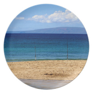 Peaceful picture of fishing rods on a beach, Maui Plate
