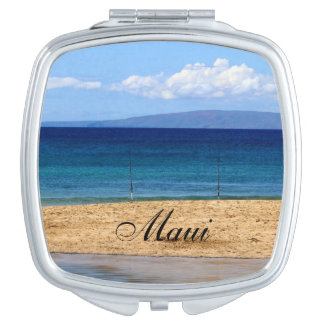 Peaceful picture of fishing rods on a beach, Maui Vanity Mirrors