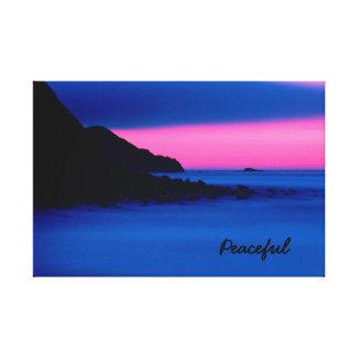 Peaceful Pink Ocean Sunset Canvas Wrap Photo Canvas Print