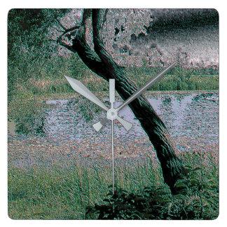 Peaceful Pond Digital Polished Stone Clock