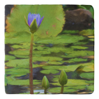 Peaceful Pond Water Lily Stone Trivet