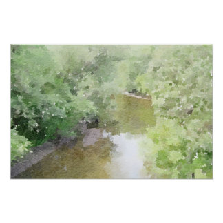 Peaceful River through Forest Abstract Watercolor Poster