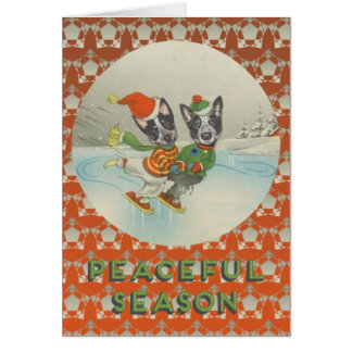 Peaceful Season: Skating Australian Cattle Dogs Card