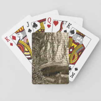 Peaceful Sepia Garden Scenery Playing Cards