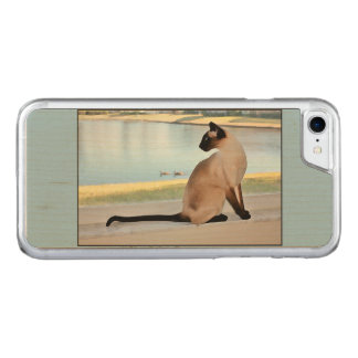 Peaceful Siamese Cat Painting Carved iPhone 7 Case