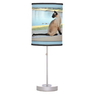 Peaceful Siamese Cat Painting Table Lamp