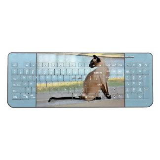 Peaceful Siamese Cat Painting Wireless Keyboard
