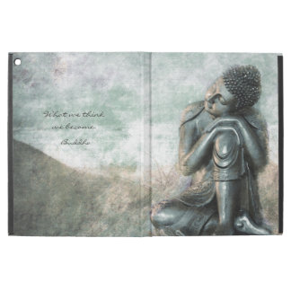 "Peaceful silver Buddha with inspirational quote iPad Pro 12.9"" Case"