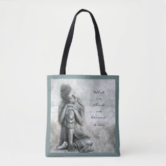 Peaceful Silver Buddha With Quote Tote Bag