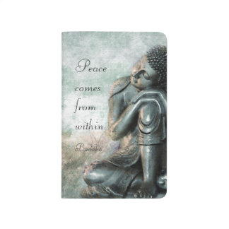Peaceful silver Buddha with words of wisdom Journal