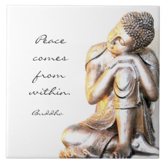 Peaceful silver Buddha with  words of wisdom Tile
