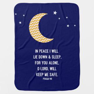 Peaceful Sleep, Navy & Chevron Gold Glitter Moon Baby Blanket