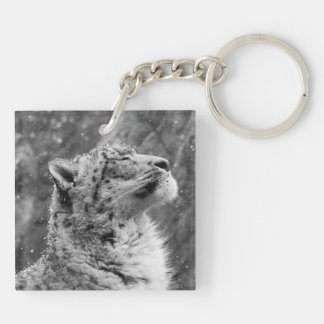 Peaceful Snow Leopard Keychain