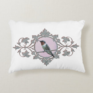 Peaceful Solitary Resting Hummingbird Accent Pillow